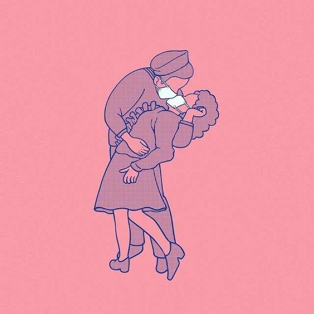 Illustration a sailor and nurse kissing with medical masks on
