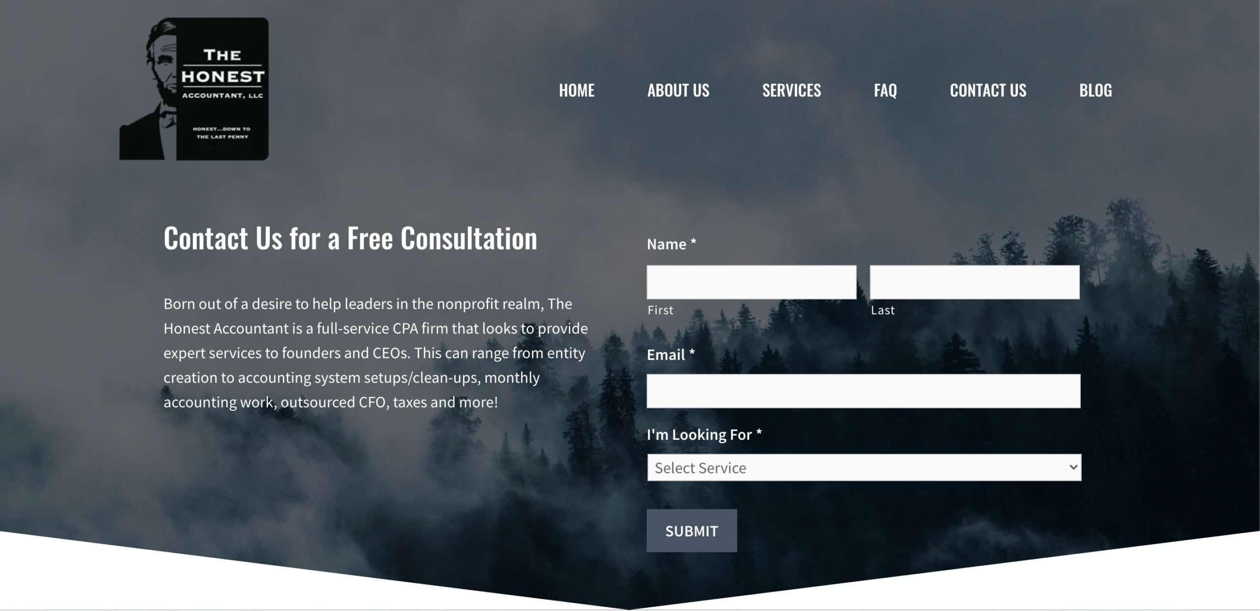 The Honest Accountant Website designed by Atlanta web design agency SkyCastle Productions